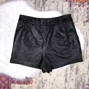 Express Edition Black Leather High Waisted Shorts